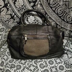 Innue Leather Handbag - Black/Gold Studs